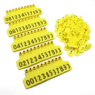 001-1000 Ear Tags Animal Identification Tags Livestock Cattle Sheep Pig Ear Mark (Yellow)