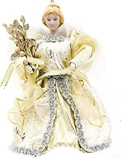 Christmas Angel Tree Topper With Feather Wings 5.25x6 Inch Gold, 1 Ea