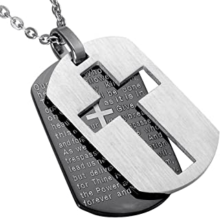 PAURO Men's Stainless Steel Bible Verse Lord's Prayer and Cross Double Pendant Necklace Dog Tag Style