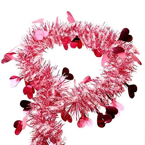 SENDILI Valentinstag Herz Lametta -Glänzende Lametta für Weihnachten Party DIY Dekoration,Rosa,3 Stück