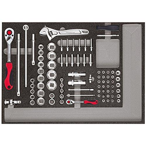GEDORE rode dopsleutelset 1/4 inch + 1/2 inch en accessoires in 3/3 schuimrubberen module, 84-delig