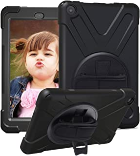 CCMAO Amazon Fire HD 8 Tablet Case (8th & 7th Generation, 2018/2017 Release), [Hand Strap]360 Degree Rotating Full-Body Impact Resistant Protective Case For Amzon Fire HD 8 Tablet (black)