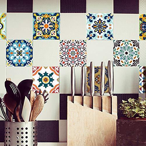 Byrhgood Negro y Oro Mármol Pegatinas de Azulejos Pegatinas de Pared Etiquetas de Pared Decorativo Extrovable Peel & Stick para la Cocina Backsplash (Color : Mediterranean, Size : 15x15cmx10pcs)