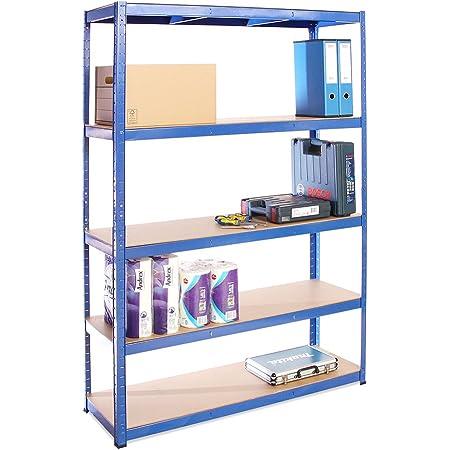 G-Rack (Bleu Rangement pour Garage, 180cm x 120cm x 40cm 5 Niveaux, Capacité de 875kg (175kg par Étagère) – très résistant, Charge Lourde