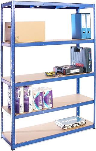 G-Rack (Bleu Rangement pour Garage, 180cm x 120cm x 40cm 5 Niveaux, Capacité de 875kg (175kg par Étagère) – très rési...