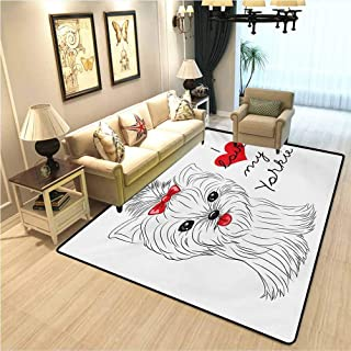 Yorkie Traditional Non-Slip Retro Rug I Love My Yorkie Cute Terrier with its Tounge Out Adorable Yorkshire Terrier Carpet Spots for Kids Classroom Black White Red W4xL5 Ft