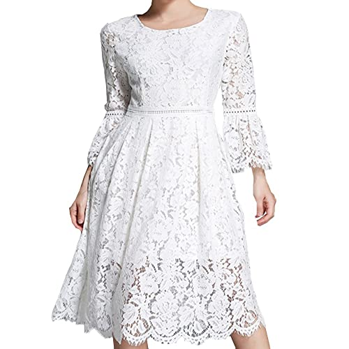 0923a8e1db Aox Womens Fashion Long Sleeve Floral Lace A Line Long Maxi Party Evening  Bridesmaid Swing Dress
