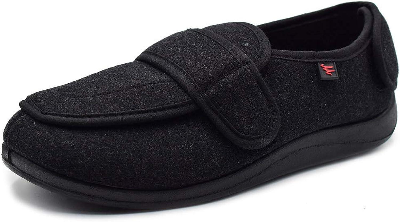 NKeepB Mens Comfortable Wide Width Diabetic Flat Feet Slippers - Adjustable Closures Walking shoes