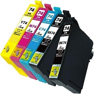 IC4CL74(BK/C/M/Y)+ICBK74 エプソン用インクカートリッジ 4色+BK 計5本 互換インク (最新ICチップ搭載/残量検知対応/デジタル説明書付き(QR)) 対応機種:PX-M5040C6 PX-M5040C7 PX-M50...