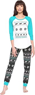 Icons Girls Thermal Sleep Set Pajamas Sleepwear Teal Fair Isle Moose Squirrels Licensed