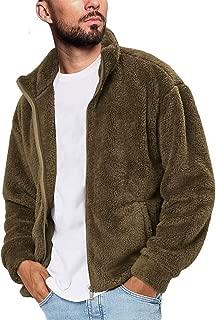 Mens Fluffy Fuzzy Sherpa Jacket Casual Winter Fleece Stand Collar Zip up Outwear Cardigan Coat
