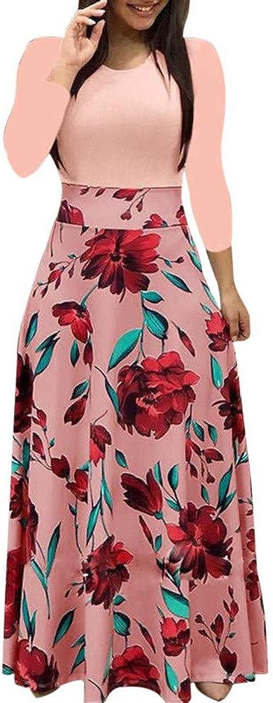 Jinjin2 Women's Long Dresses Casual Print Long Sleeve Summer Dress Round Neck Party Dress Comfort Maxi Dress