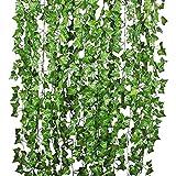 opamoo Edera Artificiale ,12 Pezzi Piante Edera Artificiali foglie verdi finta pianta rampicante Ghirlanda per Festa cucina casa di Matrimonio e la Decorazione della Parete di ufficio Giardino Balcone