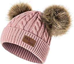 Infant Toddler Beanie Woolen Hat Pure Color Winter Twist Double Pom Pom Wool Knitted Cap for 1-3 Years Old