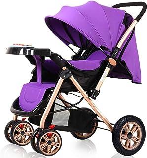 ZbbSwza Pushchair Full-Size Ultra Lightweight Umbrella Stroller Folding Luxury Baby Stroller (Color : Purple)