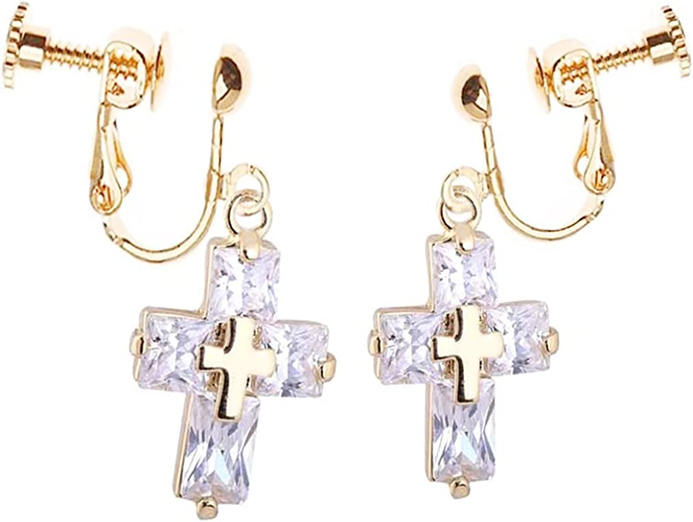 CNCbetter Fashion Womens Jewelry Charm Cubic Zirconia Cross Screw Back Clip on Earrings Gold Plated Wedding Bridal