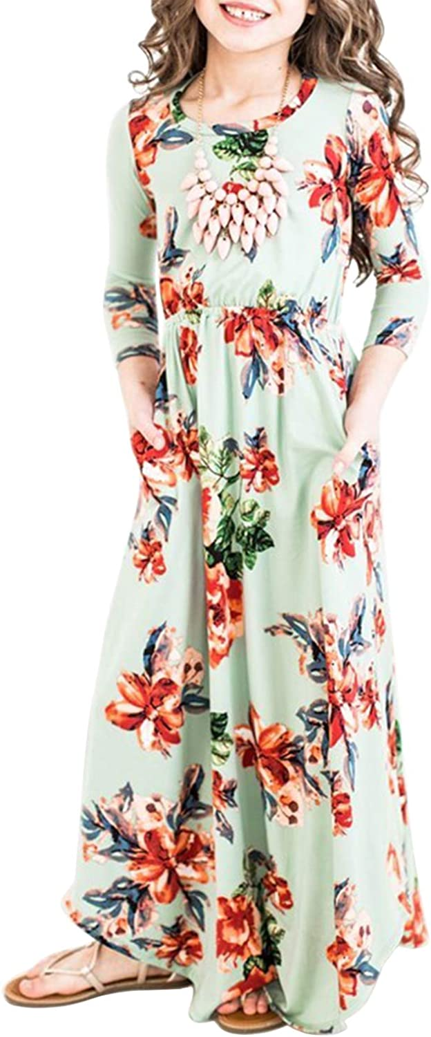 MITILLY Girls Flower 3//4 Sleeve Pleated Casual Swing Long Maxi Dress with Pockets