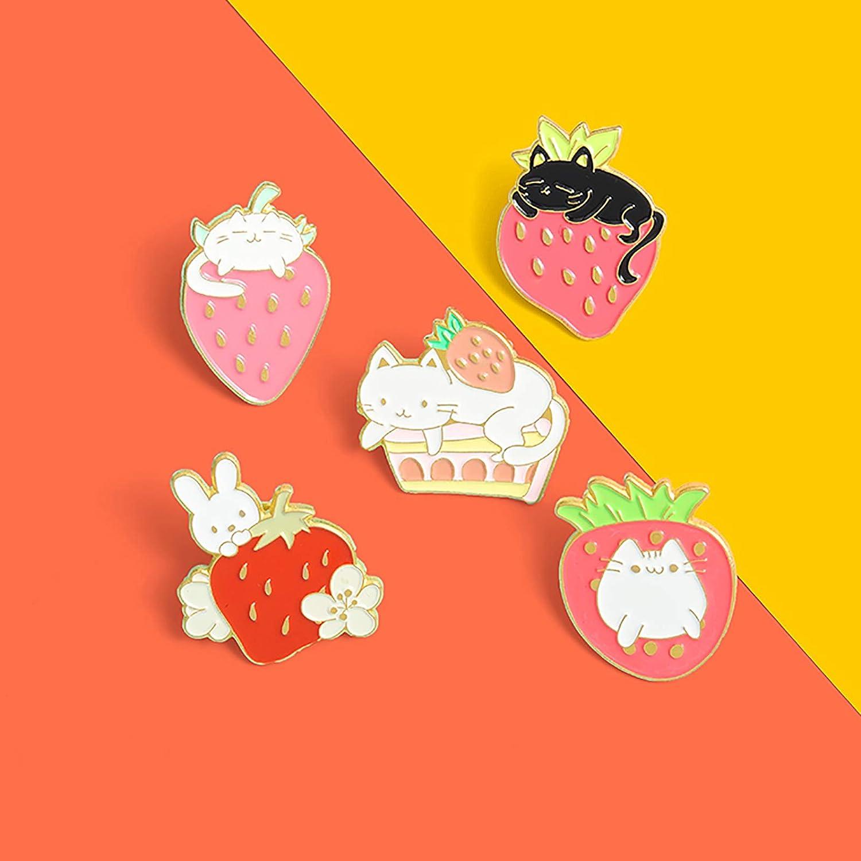 Sweet Strawberry Enamel Pins Set Cartoon Fruit Rabbit Cat Lapel Pins for Women Girl Cute Brooches Pin Badges for ClothingBackpacks