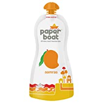 Paper Boat Aamras, Mango Fruit Juice, No Added Preservatives and Colours (Pack of 6, 200ml each)