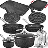 Lightning Deal Induction Cookware Set, Cooking Pot and Pan Set, Tri-Ply Stainless Steel NonStick Copper Pot, Rustproof & Oven & Dishwasher Safe, PFOA Free, Rose Gold