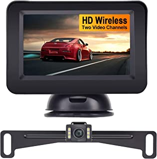 AMTIFO A14 Wireless Backup Camera with 4.3'' Monitor Kit,HD Monitor with 2 Video Channels for Cars,SUVS,Minivans,Rear/Front View Optional, DIY Guide Lines