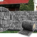 Plantiflex Sichtschutz Rolle 35m Blickdicht PVC Zaunfolie Windschutz für Doppelstabmatten Zaun (Stein-Anthrazit)