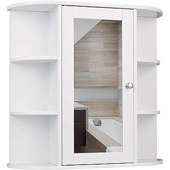 EUGAD Mobiletto Pensile da Bagno con Specchio Armadietto Bianco Lucido da Lavabo con Due Porte in Legno 55x14x36cm 0021WY