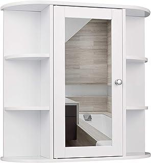EUGAD Armarios con Espejo para Baño Cocina Mueble Espejo para Baño Mueble de Pared de baño Espejo con Estante Mueble Joyero de Madera con 6 Estantes 58 x 60 x 16 cm Blanco 0022WY