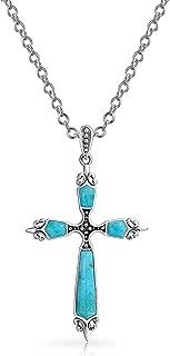 Religious Stabilized Turquoise Fleur De Lis Cross Pendant Necklace For Women 925 Sterling Silver