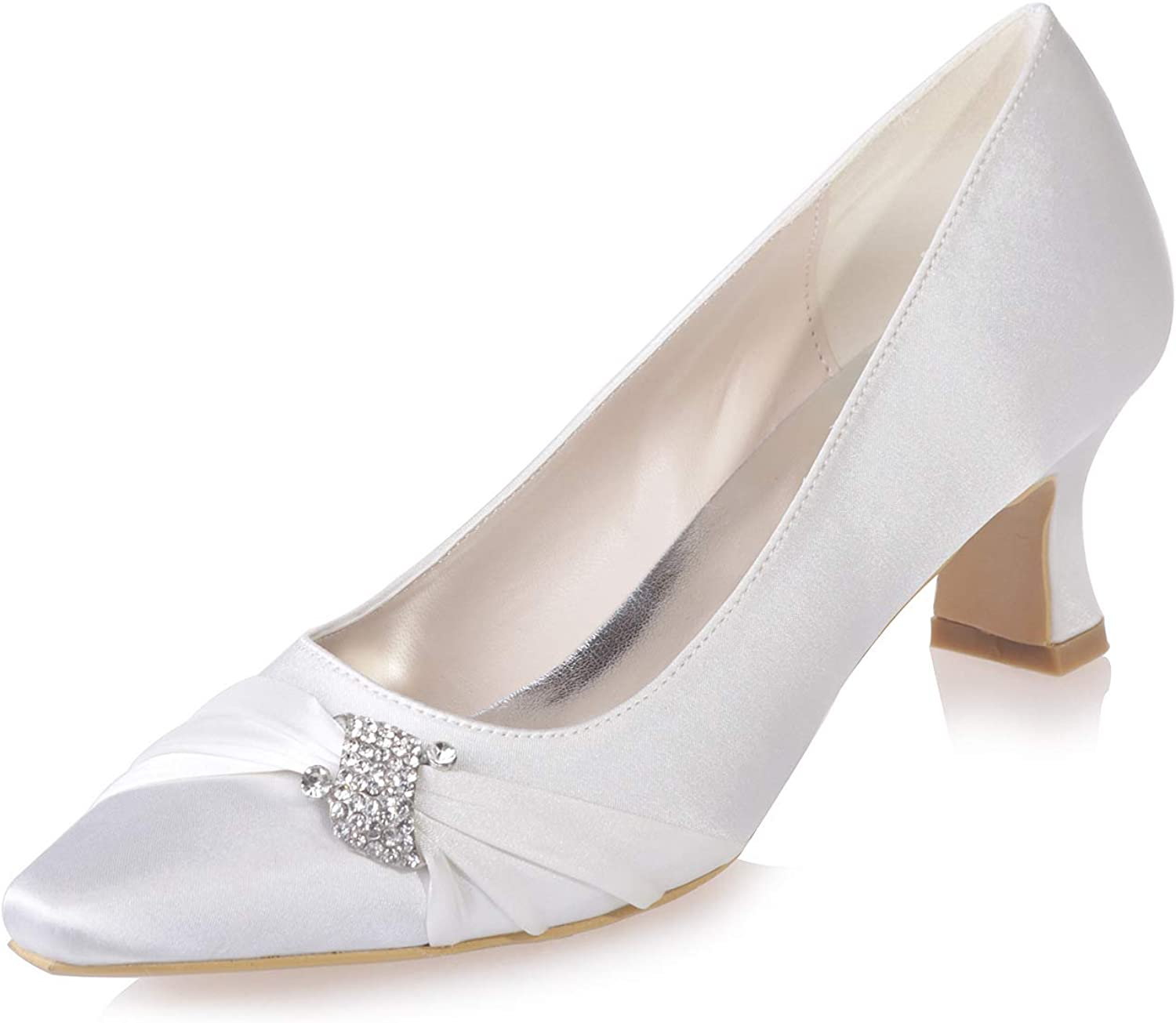 LLBubble Kitten Heels Satin Women Wedding Pumps Pointed Toe Crystals Formal Party Dress shoes 0723-02