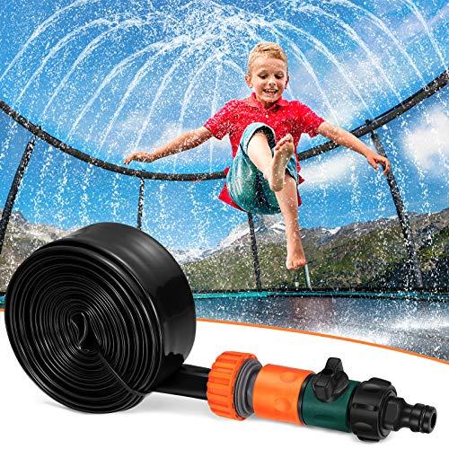 Toyvian Aspersor para niños en cama elástica con aspersor de agua, diversión verano al aire libre, juguete de agua para niños y niñas, divertido parque, juego de aspersor yard (12 pies), color negro