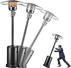 Pacoco Propane Patio Heater with Wheels Stainless Steel Floorstanding Portable Heater for Commercial, Outdoor, Home, Garde...