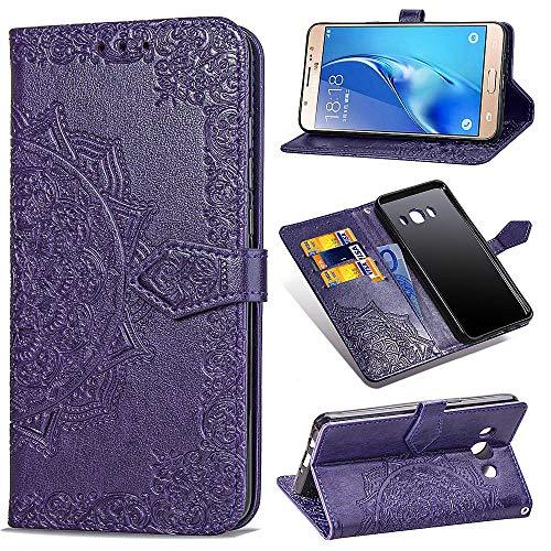 MRSTER Funda Compatible con Samsung Galaxy J7 2016, PU Cuero Flip Folio Carcasa, Cierre Magnético, Función de Soporte, Billetera PU Cuero Funda para Samsung Galaxy J7 2016. SD Mandala Purple