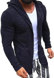 Howely Men Open Front Coat Knit Hooded Long Sleeve Sweater Cardigan