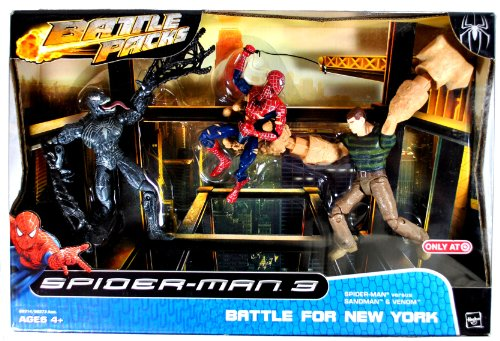 Hasbro Year 2007 Marvel Movie Series 'Spider-Man 3' Exclusive Battle Packs 6 Inch Tall Action Figure - BATTLE FOR NEW YORK with Spider-Man Versus Sandman and Venom (69314)
