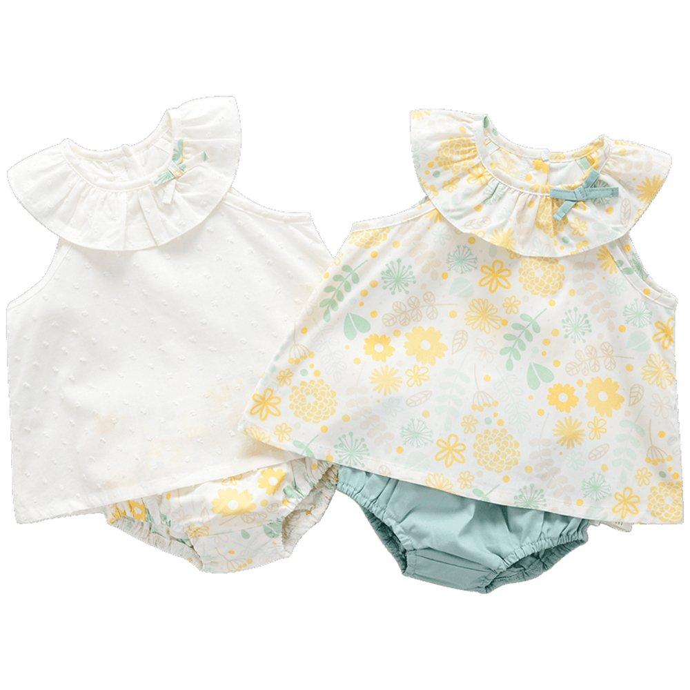 cottontown 棉花堂 女童梭织纯棉裙子套装 女宝宝婴儿洋气连衣裙两件套夏装 2581