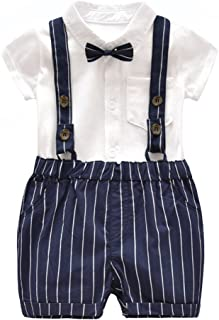 Baby Boy Summer Cotton Gentleman Short Sleeve Bowtie Romper+Striped Suspenders Shorts Outfit Set