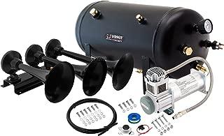 Vixen Horns Train Horn Kit for Trucks/Car/Semi. Complete Onboard System- 200psi Air Compressor, 5 Gallon Tank, 3 Trumpets. Super Loud dB. Fits Vehicles Like Pickup/Jeep/RV/SUV 12v VXO8350/3418B