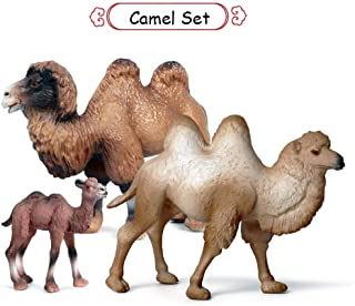 KEYUM Camel Toys Figurines Set, Wild Animal Model Llama Toys for Nature Science Learning, Wildlife Theme Party Supplies Cake Toppers, Family Pack of 3