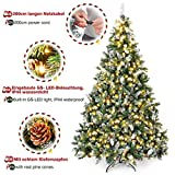Yorbay künstlicher Weihnachtsbaum mit Beleuchtung weiß Schnee LED Tannenbaum für Weihnachten-Dekoration (210CM) - 7