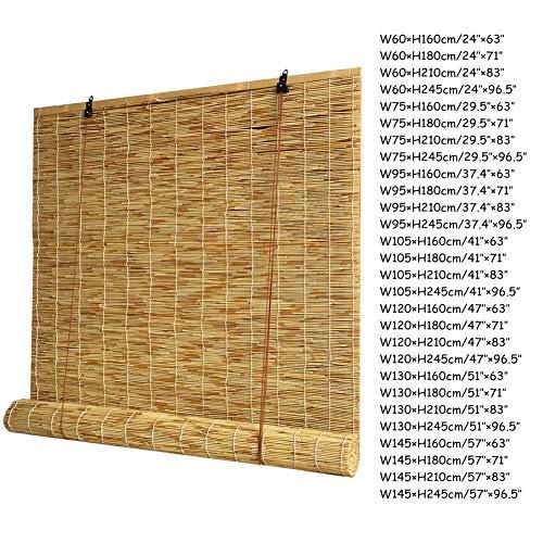 WYCD Bambus Raffrollo - Bambusrollo Seitenzug Fenster Rollos-Geeignet für Drinnen und Draußen,Sonnenschutz