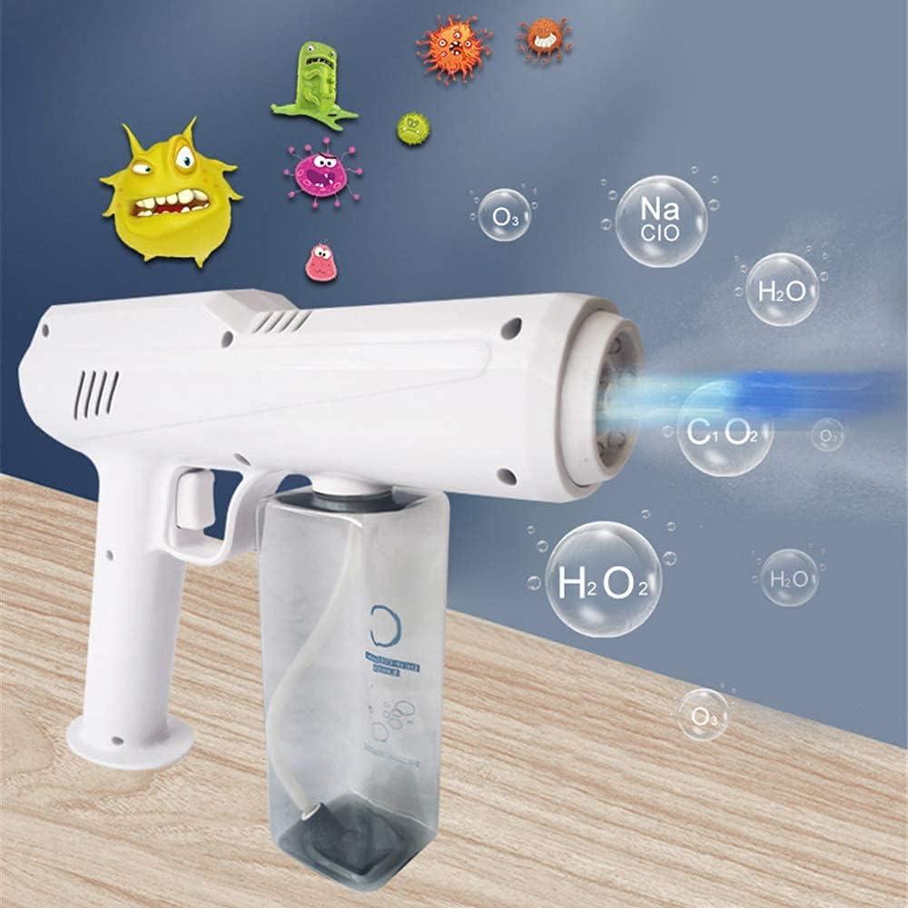 MUZIDP Actualización 500 ml portátil inalámbrico nebulizador desinfecta desinfección azul luz Nano vapor pistola esterilización Nano spray recargable