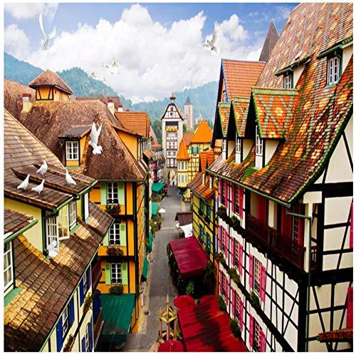 Europese stad kleur gebouw huizen straat view3d behang foto muur schilderen PVC zelfklevende huisdecoratie slaapkamer woonkamer TV muur muurschilderingen 300(w)x210(H)cm
