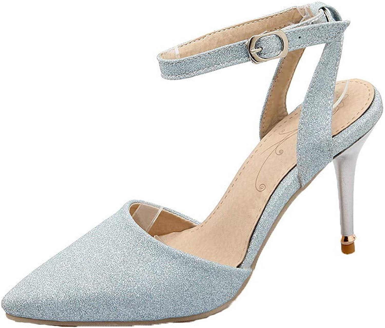 WeenFashion Women's Closed-Toe High-Heels PU Solid Buckle Sandals