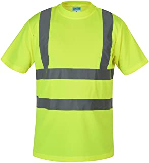 SHORFUNE High Visibility T-Shirt with Short Sleeve, Reflective Strips, Yellow, ANSI/ISEA Standards, XXL