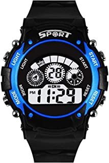 Shocknshop Digital Blue Dial 7 Light LED Silicone Band Sports Watch for Boys Kids -W108BLU