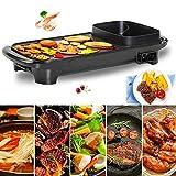 CHOME Multifunktions-Raclette-Grill für 6 Personen Der Elektrogrill Hot Pot Maifan Stone und Hot Pot Table Grill und Fondue mit Keramikbeschichtung 1300W