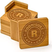 Custom Engraved Bamboo Monogram Wood Coasters, set of 6 with holder - Monogrammed for Free (Square Bamboo) Personalized Coaster Set for Drinks, Weddings, Couples, new home