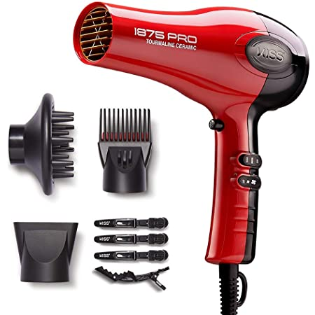 KISS 1875 Watt Pro Tourmaline Ceramic Hair Dryer, 3 Heat Settings, 2 Speed Slide Switch, Cool Shot Button, 2 Detangler Combs, 1 Concentrator, 1 Diffuser, Removable Filter Cap & 4 Sectioning Clips