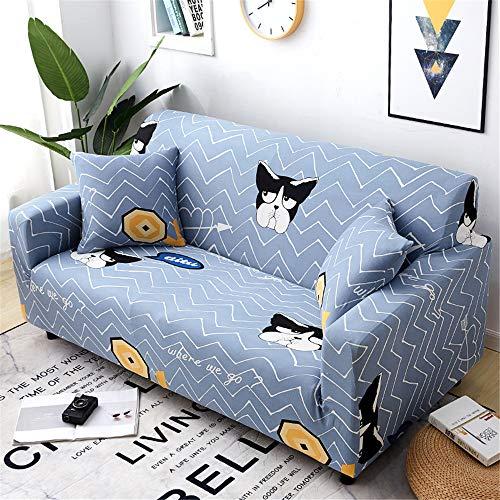 Surwin Funda de Sofá Elástica para Sofá de 1 2 3 4 plazas, Impresión Universal Cubierta de Sofá Cubre Moda Sofá Antideslizante Sofa Couch Cover Protector (Perro Mono,4 plazas - 235-300cm)